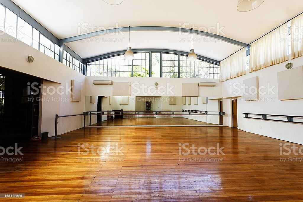 Empty dance studio awaits dancers stock photo