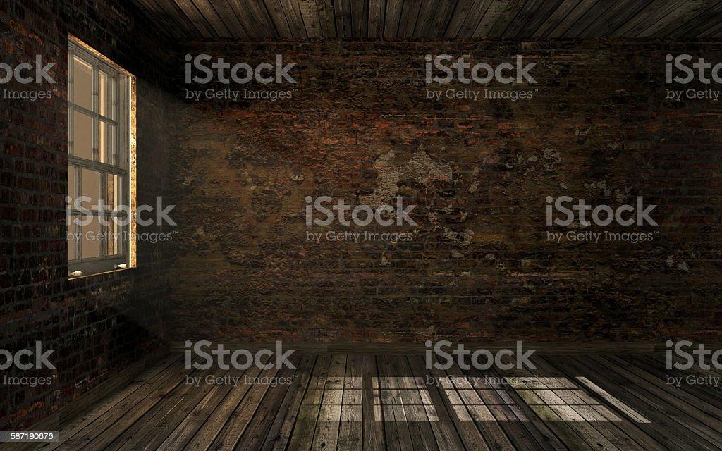 Empty dark abandoned room with volume light through window pane stock photo