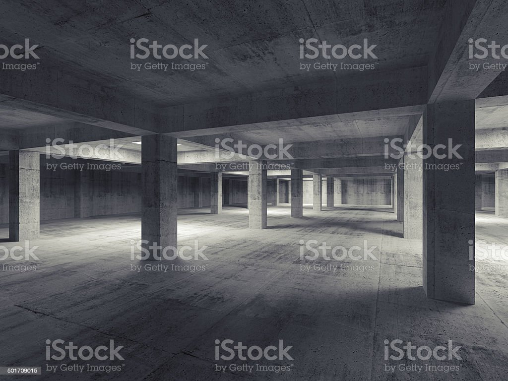 Empty dark abstract industrial underground concrete interior. 3d stock photo