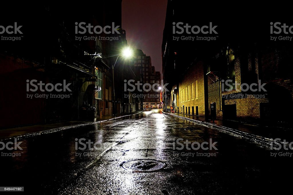 Empty Dark City Street stock photo