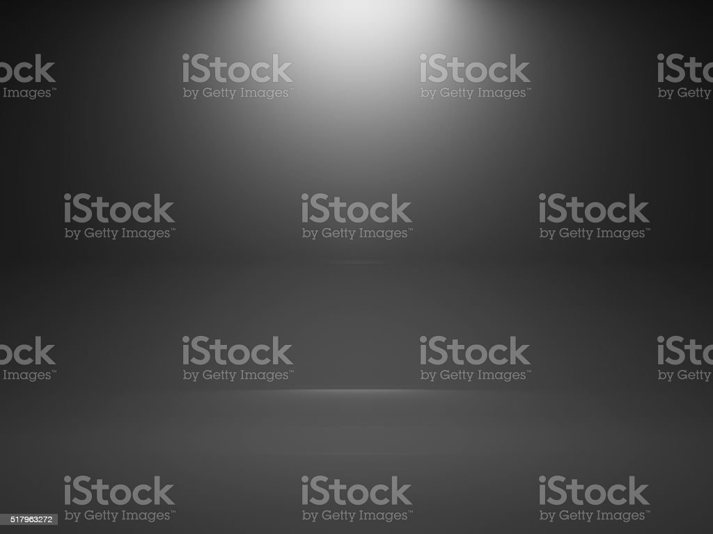 Empty dark interior background with spot, 3d stock photo