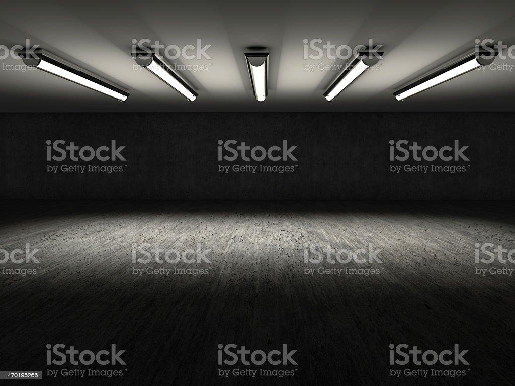 Empty dark showroom with 3D lights stock photo