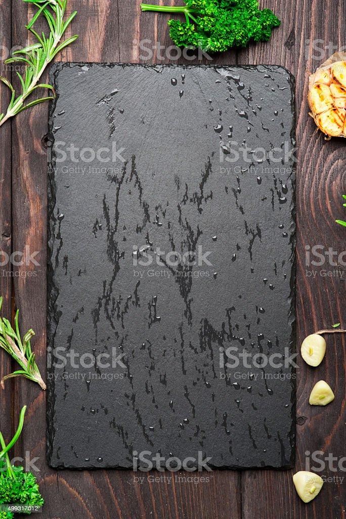 Empty dark stone background stock photo