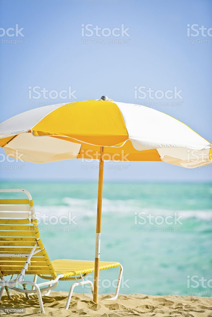 Empty Deck Chair on a beach royalty-free stock photo
