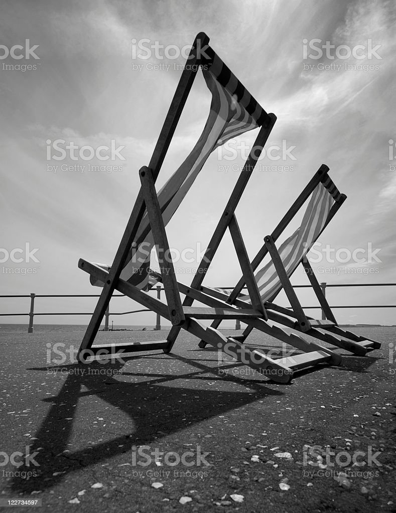Empty Deckchairs, Sidmouth - Monochrome royalty-free stock photo