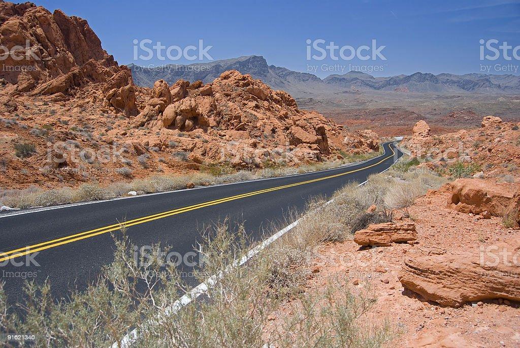 Empty Desert Highway stock photo