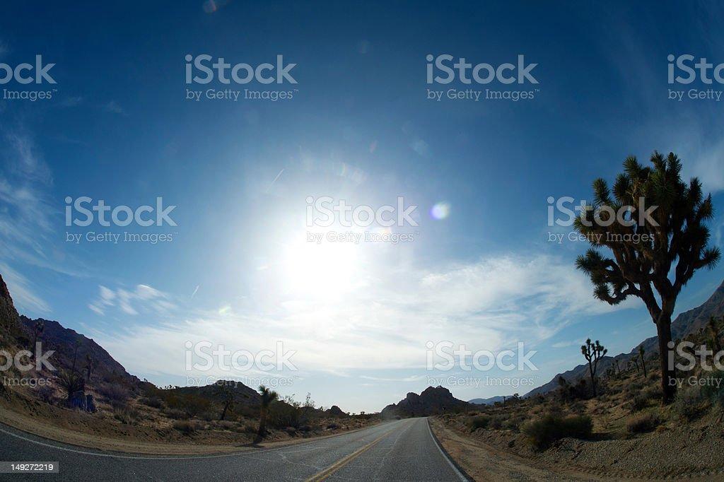 Empty desert road stock photo