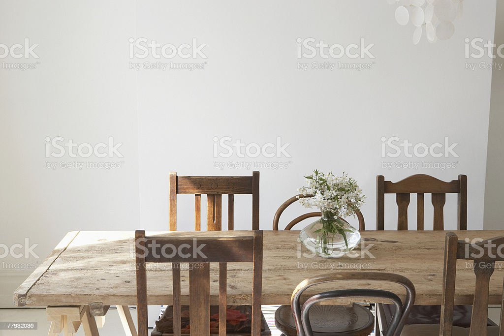 Empty dining room stock photo