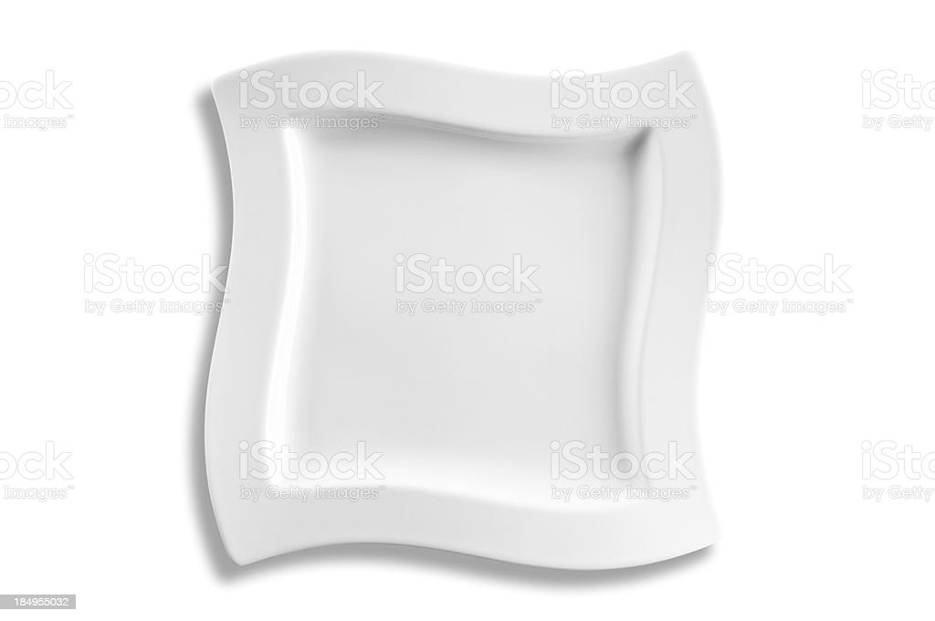 Empty dinner plate isolated on white background stock photo