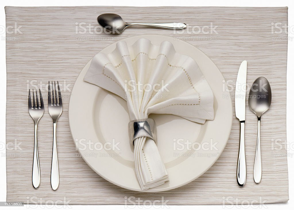 Empty Dinner Plate, Knife, and Fork stock photo