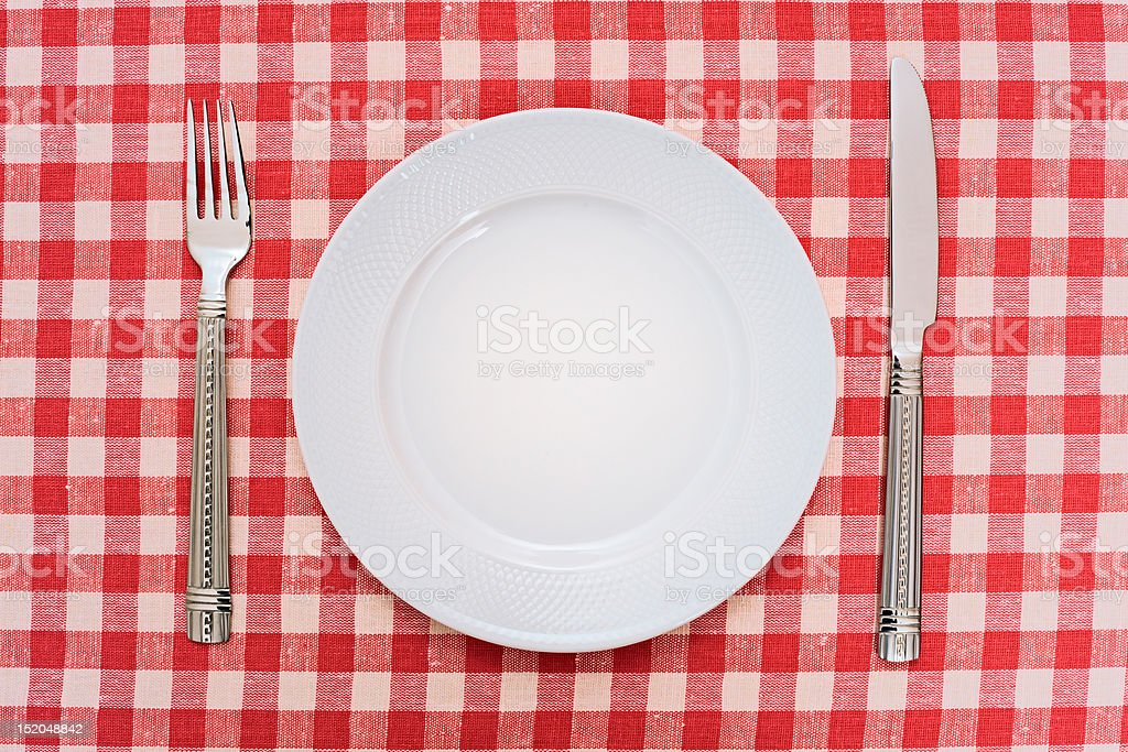 Empty dinner plate stock photo