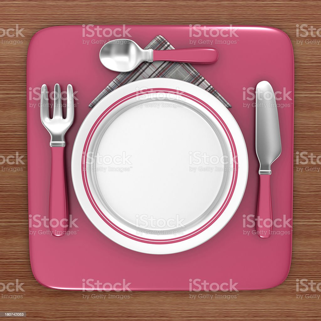 Empty Dinner Plate with Cutlery - Icon in the Square royalty-free stock photo