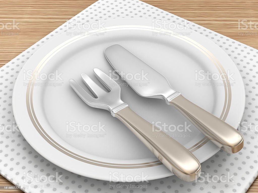 Empty Dinner Plate with Cutlery royalty-free stock photo