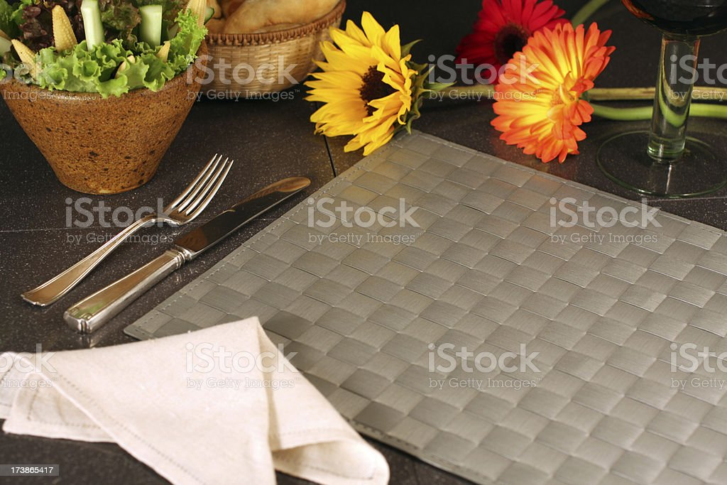 Empty Dinner with Flowers royalty-free stock photo