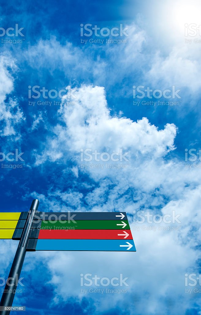 empty directional banners stock photo