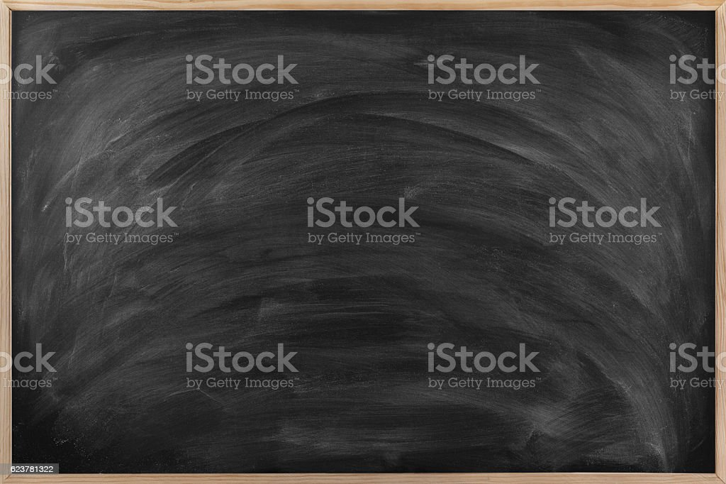 Empty Dirty Blackboard with wood frame. stock photo