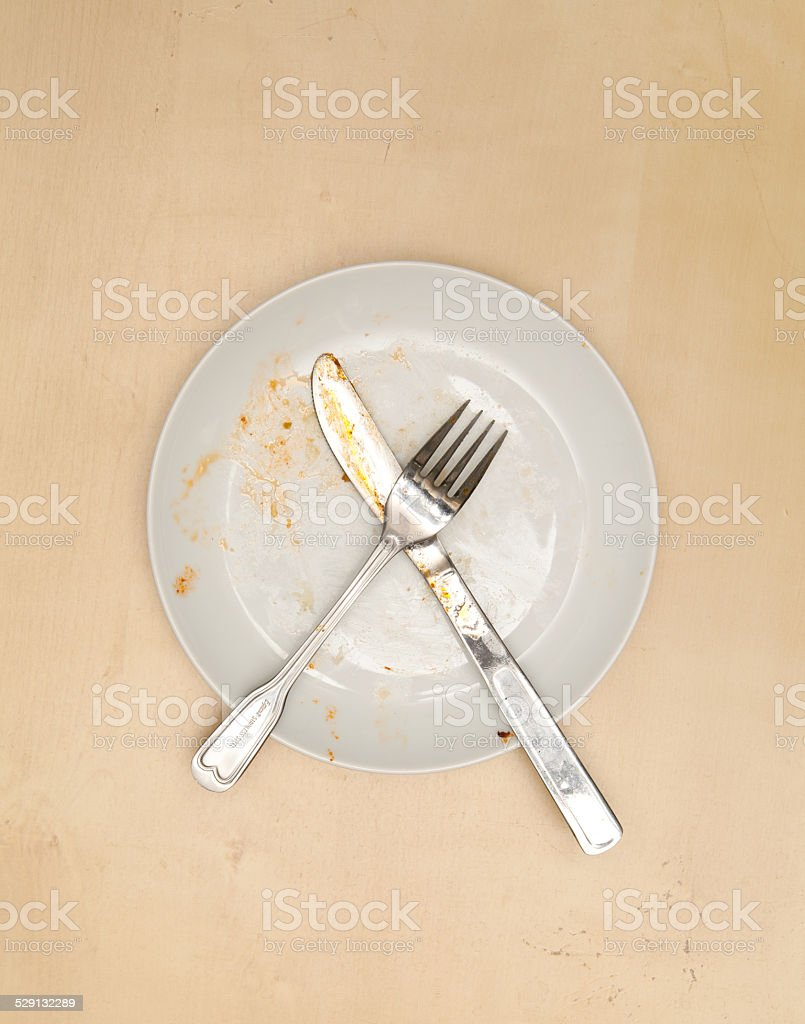 empty dirty plate stock photo