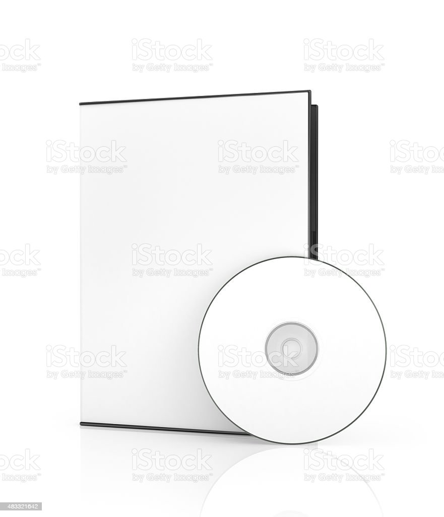 Empty disk near the white box for DVD disk. Blank box for DVD disk. stock photo