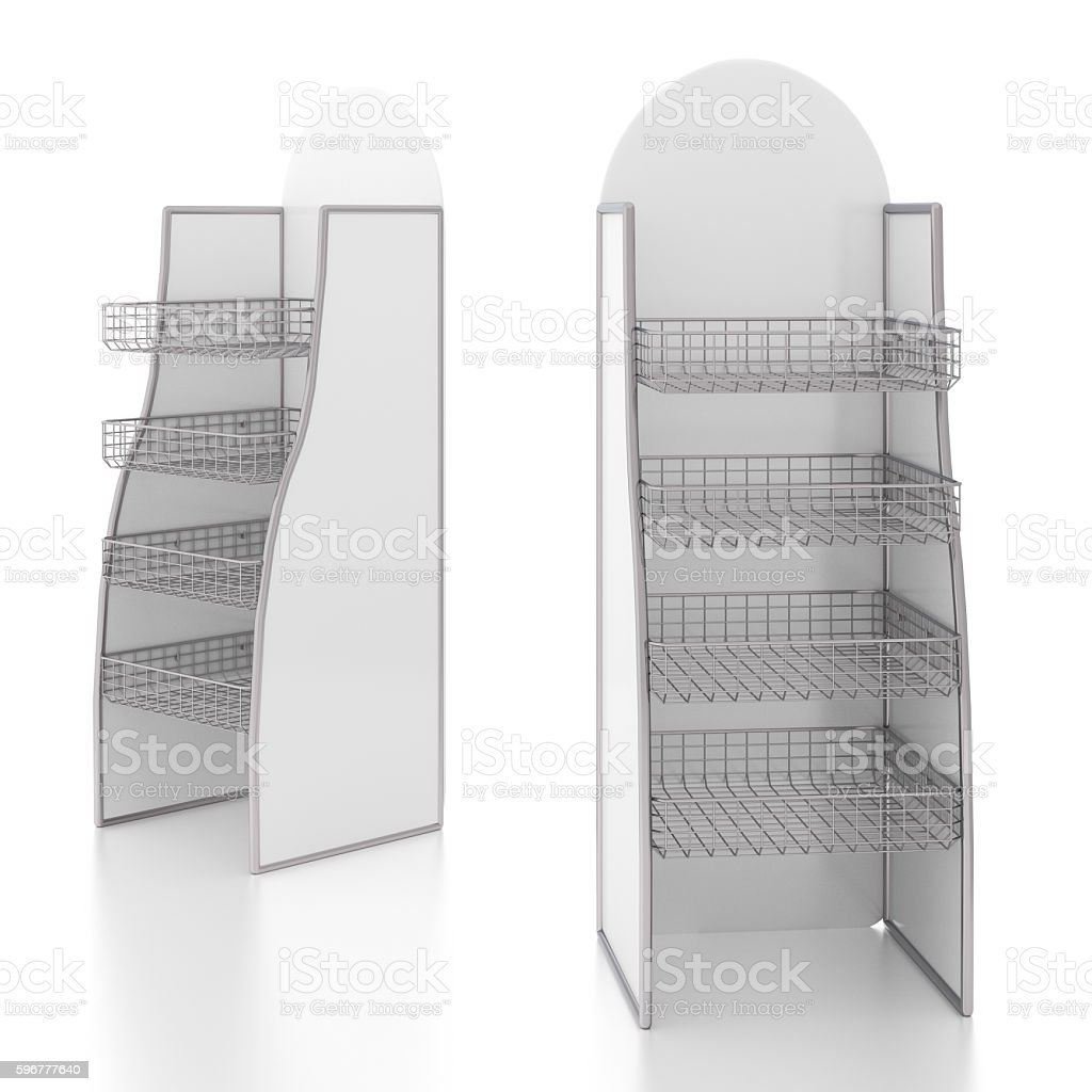 Empty display stand with wire shelves stock photo