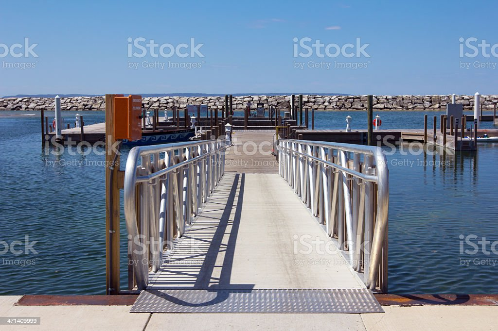 Empty Dock and Gangway stock photo