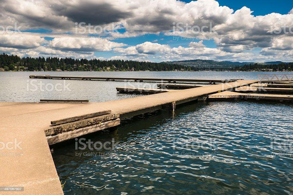 Empty Dock at Seattle's Lake Washington royalty-free stock photo