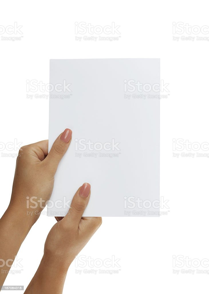 Empty document in woman hands on white background stock photo