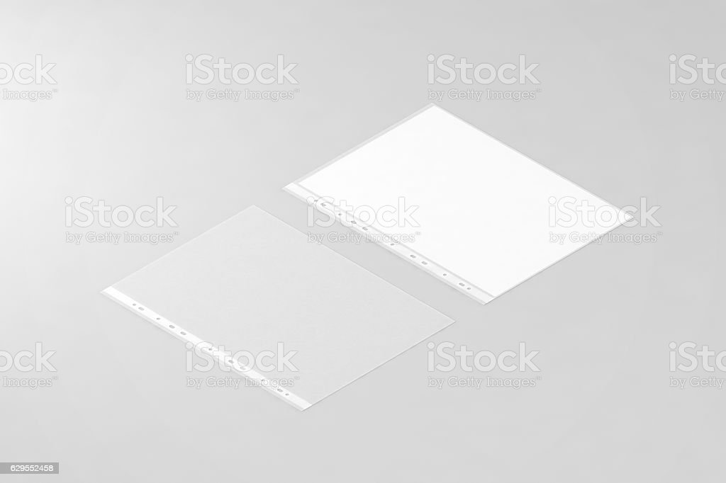Empty document protector and blank white A4 paper sheet mockup stock photo