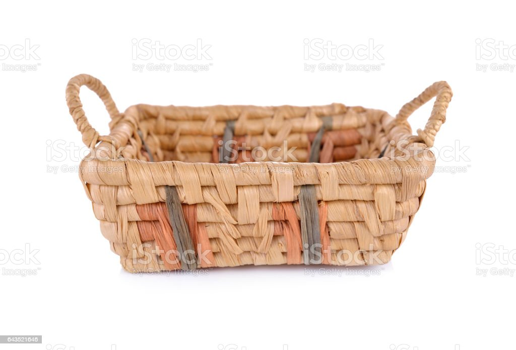 empty dried water hyacinth basket on white background stock photo