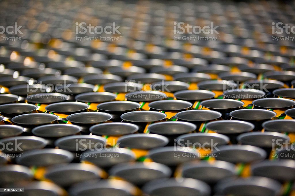 Empty Drink Cans on the Production Lines stock photo