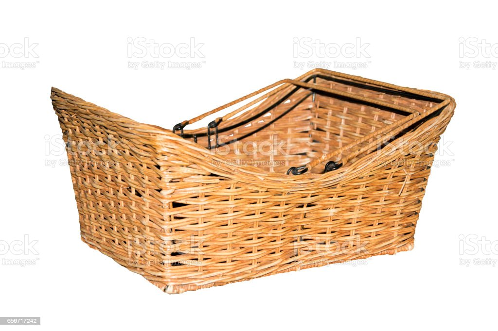 Empty Dry Water hyacinth basket isolated on white stock photo