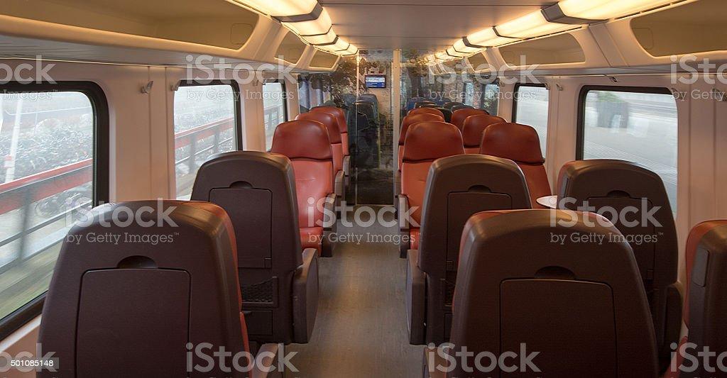 Empty dutch  intercity class train stock photo