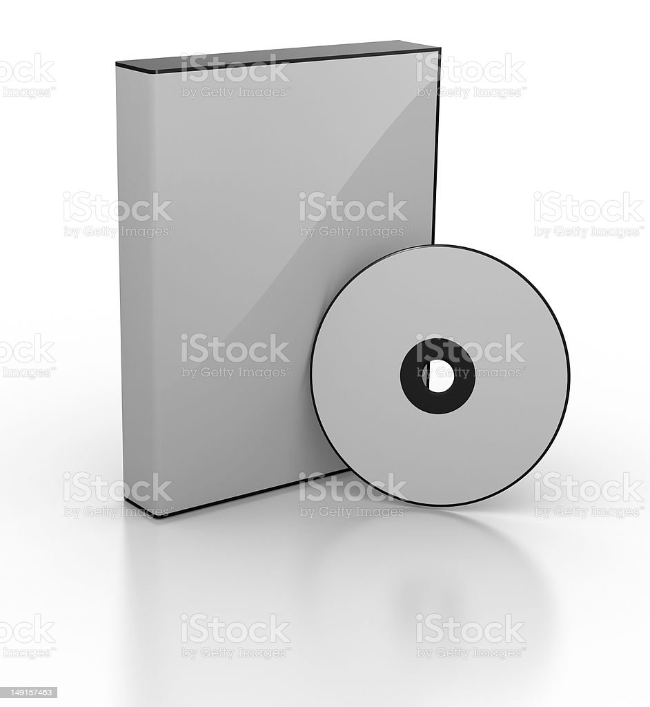 Empty DVD or CD Case and Disc stock photo