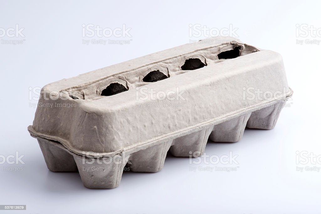 Empty eggs box stock photo