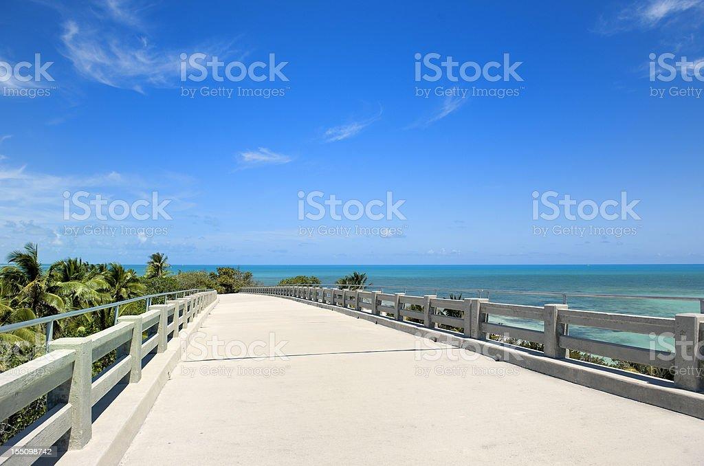 empty elevated road near tropical beach Florida USA royalty-free stock photo