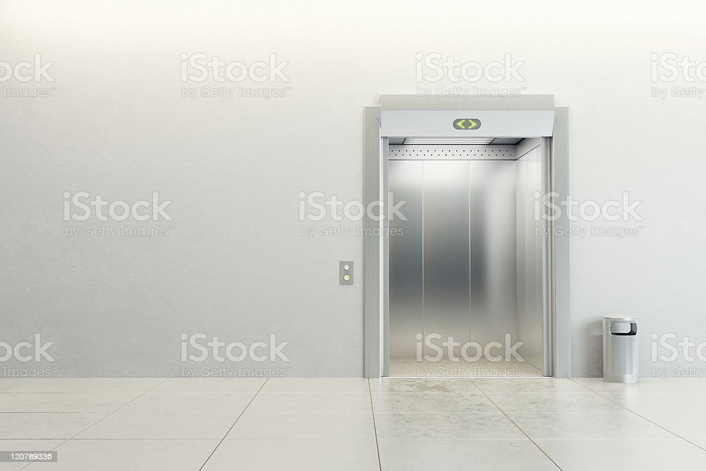 Empty elevator with open doors stock photo