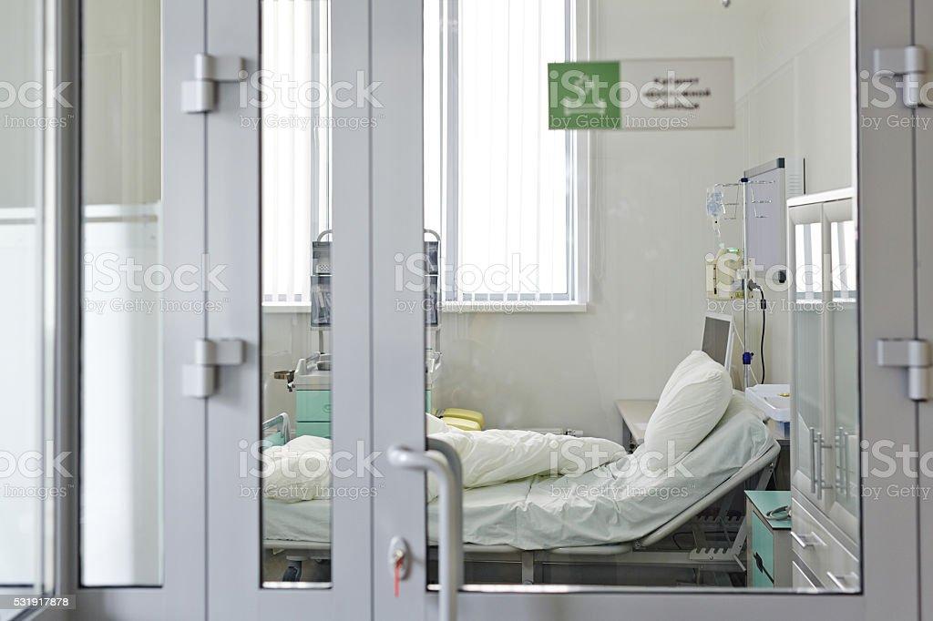 Empty emergency room stock photo