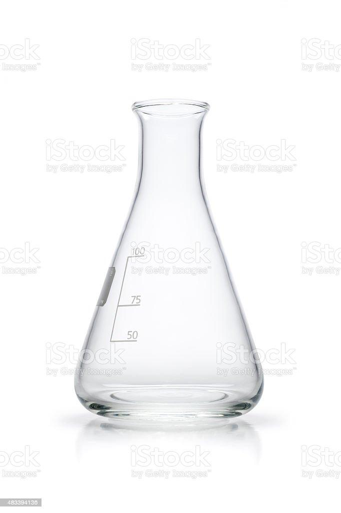 Empty Erlenmeyer flask - Isolated White Background stock photo