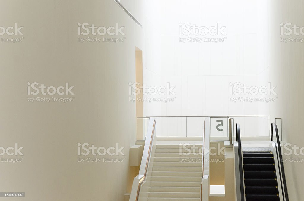 Empty escalator stairs in the modern building royalty-free stock photo
