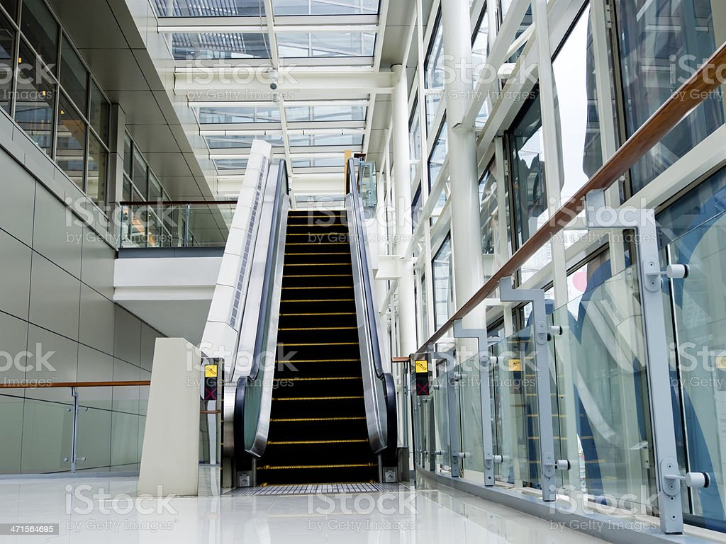 Empty escalator stairs royalty-free stock photo