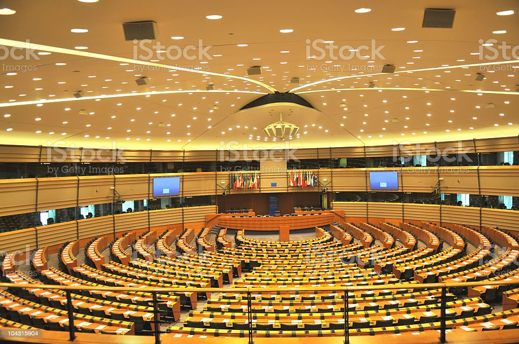 Empty European Parliament Assembly Room, Brussels, Belgium stock photo