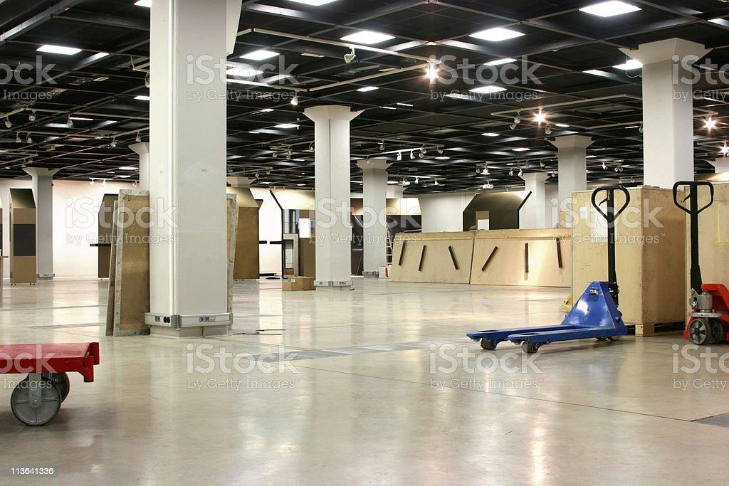 Empty exhibition hall underground stock photo