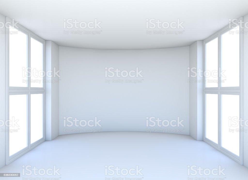 Empty exhibition hall with windows stock photo