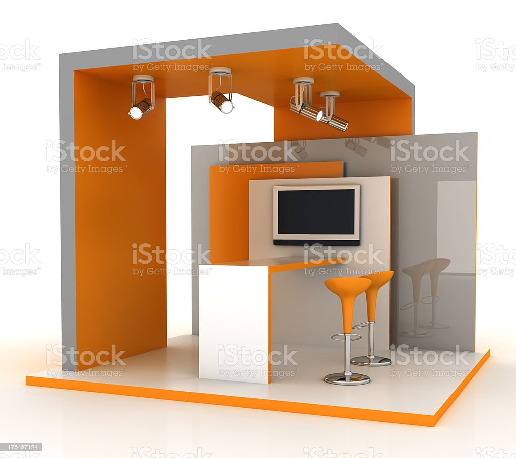 Empty exhibition stand stock photo