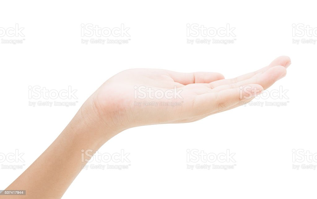 Empty female hand holding isolated on white background with clip stock photo