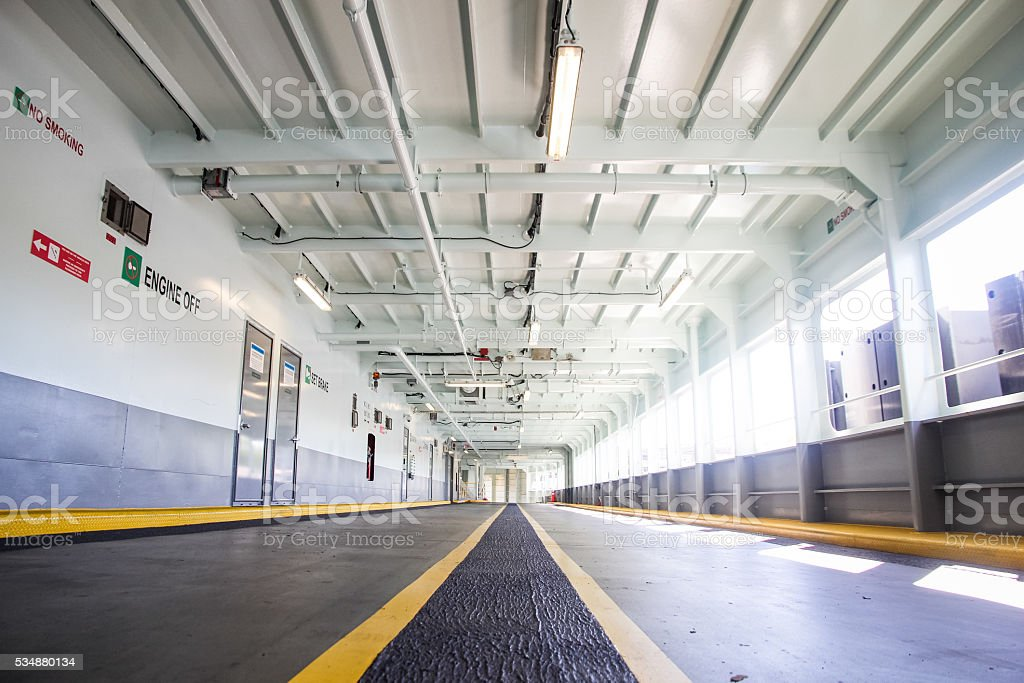 Empty Ferry Boat Parking Bay stock photo
