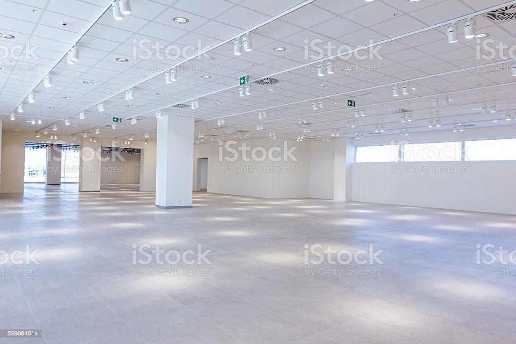 Empty finished modern mega market. Architecture concept stock photo