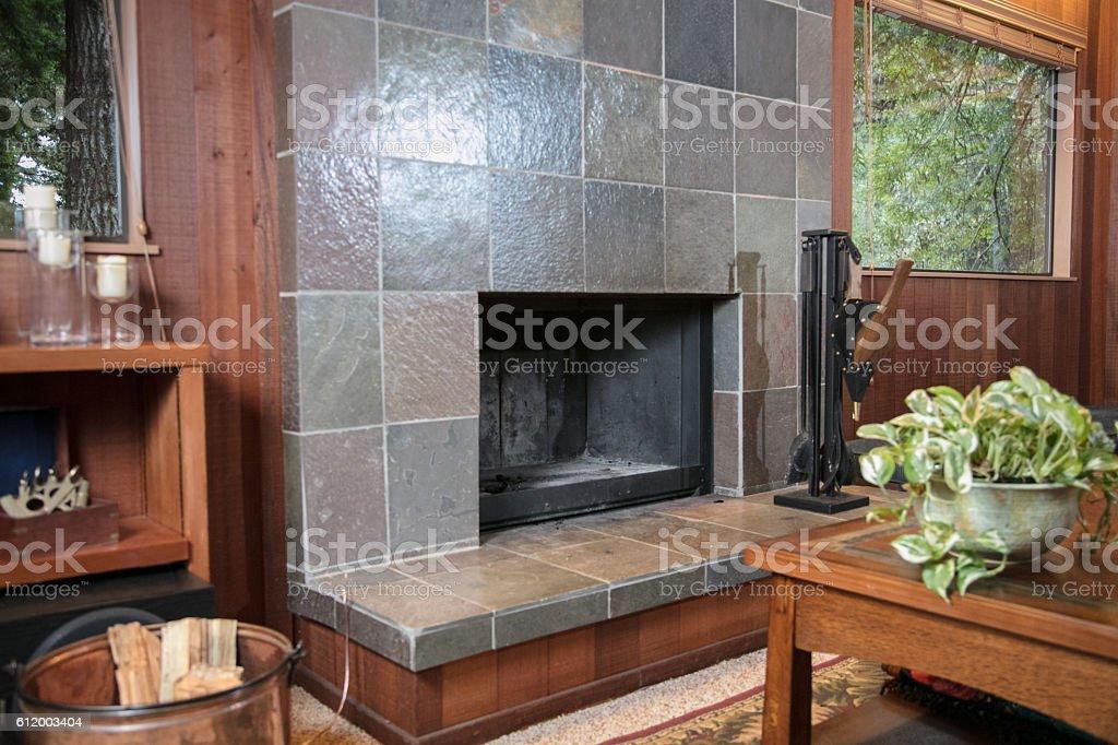 Empty fireplace stock photo