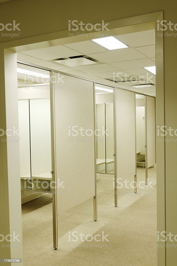 Empty fitting room in department store stock photo