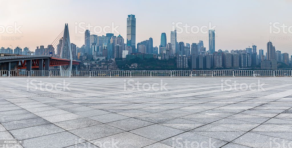 Empty floor and modern city skyline in chongqing,china stock photo