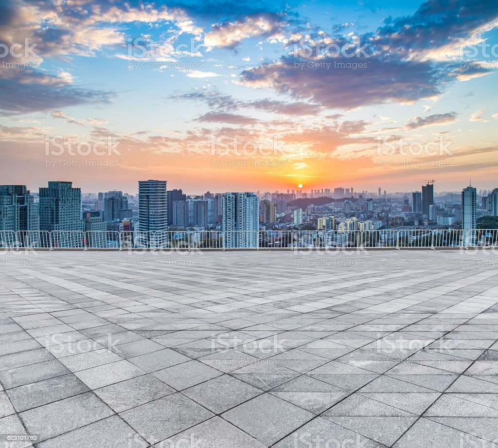 Empty floor and modern city skyline in wuhan,china stock photo